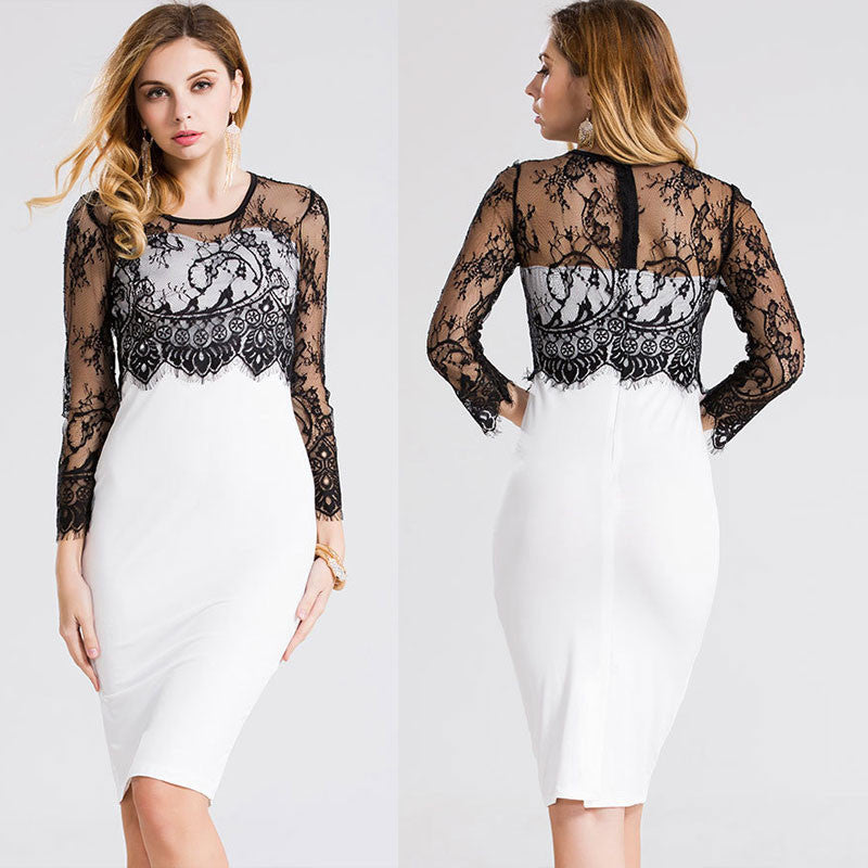 Beautiful Lace Stitching Knee-length Pencil Dress - Oh Yours Fashion - 1