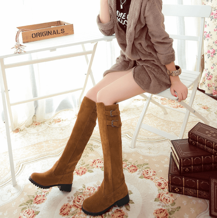 Low Chunky Heel Suede Buckle Knee High Boots