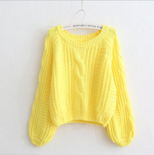 Cable Sleeve Coarse Yam Pure Color Pullover Sweater - Oh Yours Fashion - 6