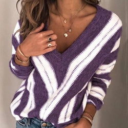Oversized V Neck Striped Pullover Sweater