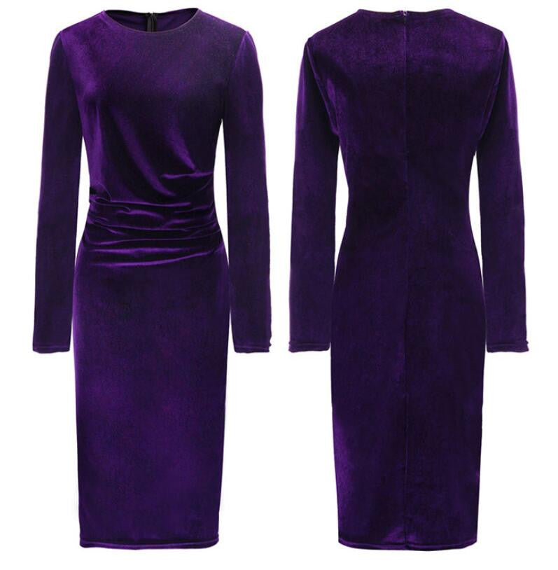 Fashion Velvet Scoop Long Sleeve Knee-Length Dress - Oh Yours Fashion - 10