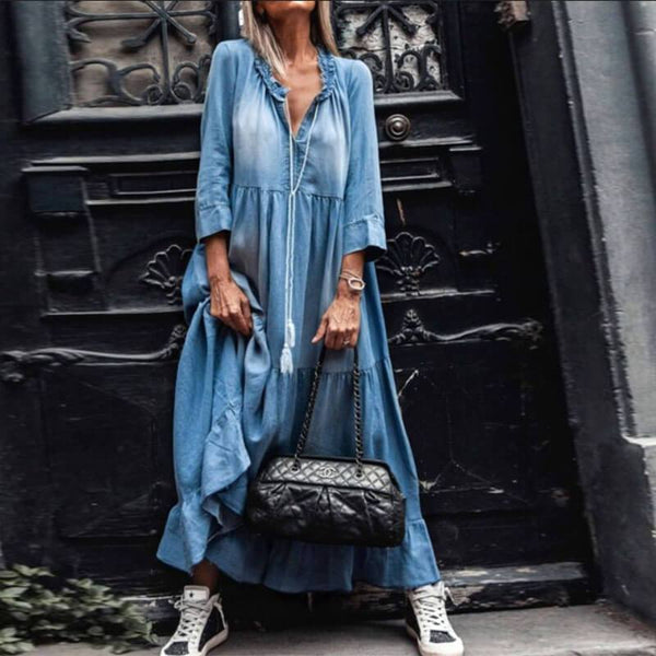 Loose Denim Ruffle Long Dress
