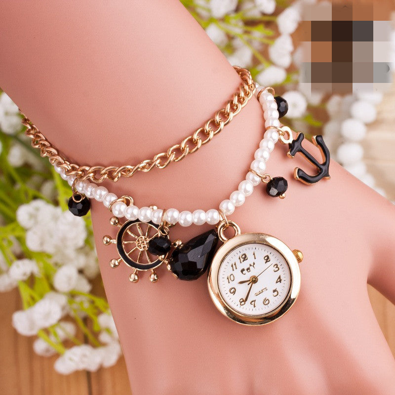 Golden Helmsman Pearl Bracelet Watch - Oh Yours Fashion - 3