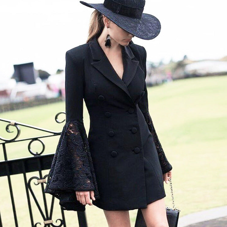 V-neck Lapel Solid Color Long Trumpet Lace Sleeves Women Slim Long Blazer Coat