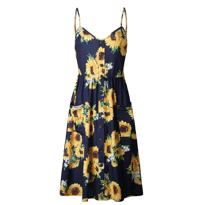Spaghetti Straps Flower Print Buttons High Waist Women A-line Tee-length Dress
