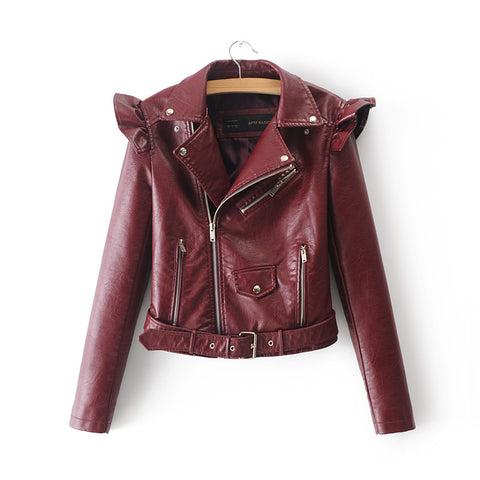 Lapel Oblique Zipper Women Motorcycle Short PU Jacket