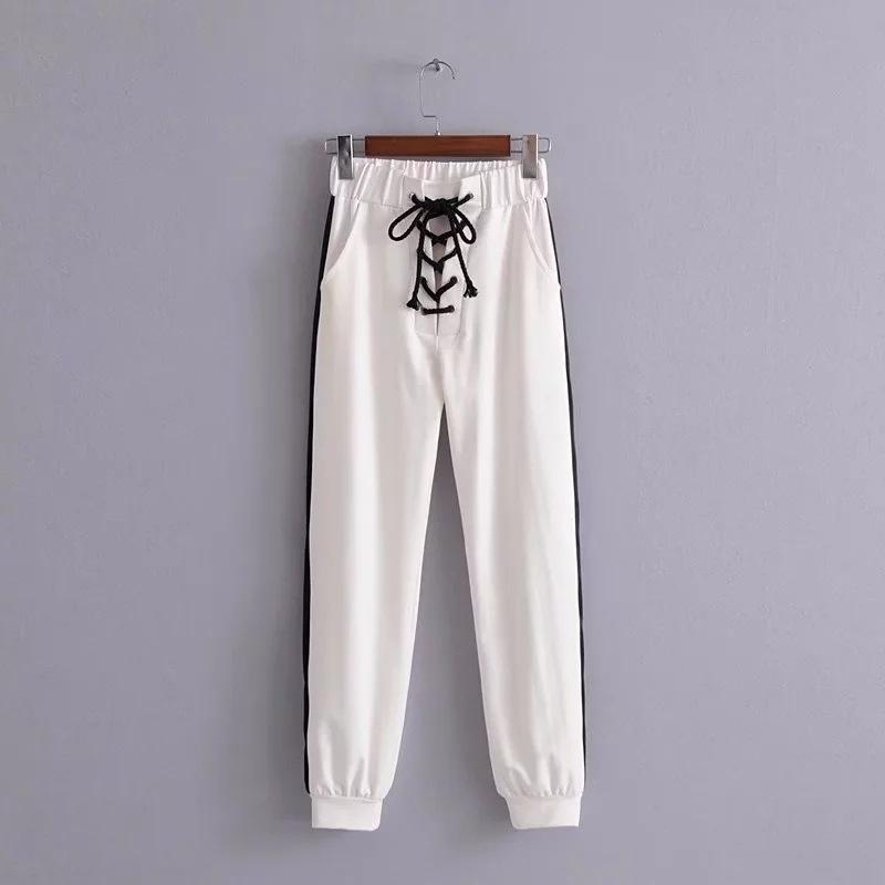 Lace-up Patchwork High Waist Harten Loose Long Pants