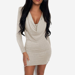 Sparkling Pile Collar Long Sleeve Bodycon Dress