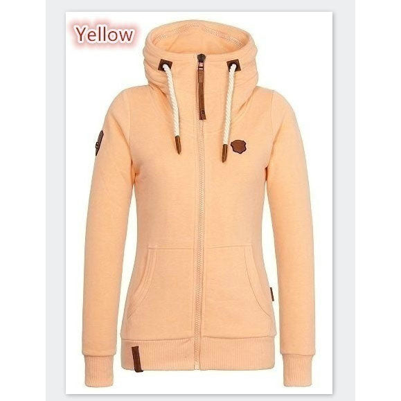 High Neck Zipper Drawstring Pocket Solid Color Slim Hoodie Coat