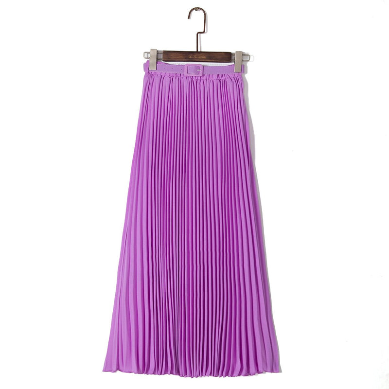 High Waist Candy Color Loose Long Pleated Skirt