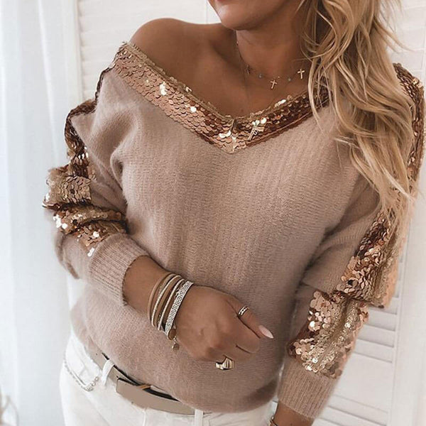Sequin Patchwork Knitted Sweater