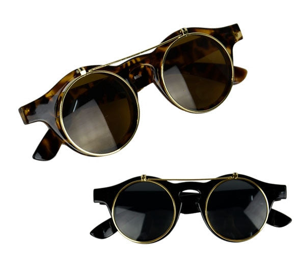Women's Mens Retro Style Flip Up Round Steampunk Sunglasses - Oh Yours Fashion - 1