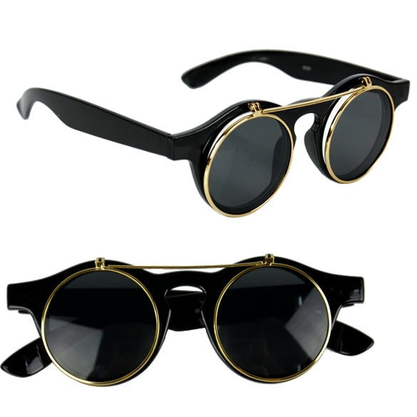 Women's Mens Retro Style Flip Up Round Steampunk Sunglasses - Oh Yours Fashion - 2