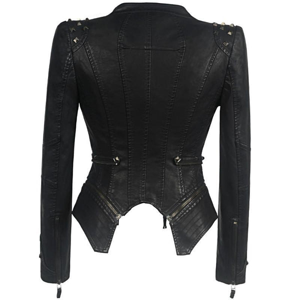 Punk-Shoulder Pad Moto Jacket