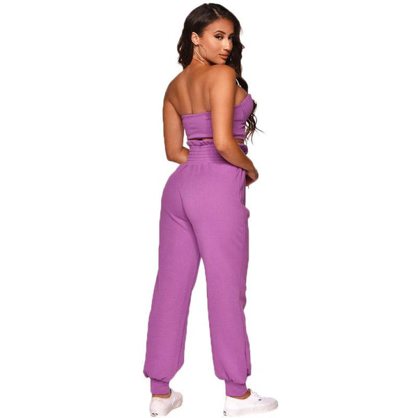 Sexy Candy Color Strapless High Waist Zipper Two Pieces Set