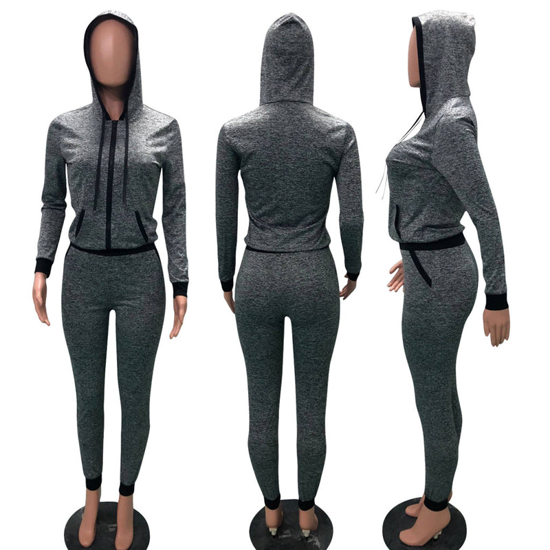 Zipper Slim Hoodie with Long Skinny Pants Two Pieces Sports Set