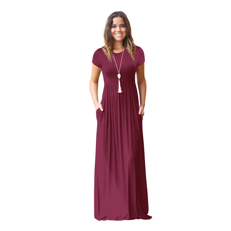 Solid Color Short Sleeves Women Long Casual Dress