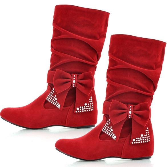 Women's Fashion Boots Bow Decoration Mid-Calf OL Style Fashion And Beautiful Shoes