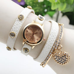 Crystal Heart PU Strap Wristwatch - Oh Yours Fashion - 1