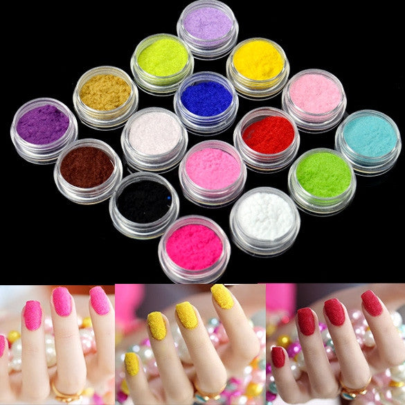 Nail Art Nail Powder Tips Fuzzy Flocking Velvet Tools 16 Colors+Tweezer New EP98 - Oh Yours Fashion
