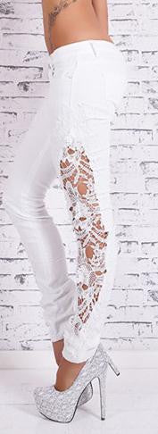 Plus Size Lace Patchwork Slim Straight Low Waist Jeans - Oh Yours Fashion - 2