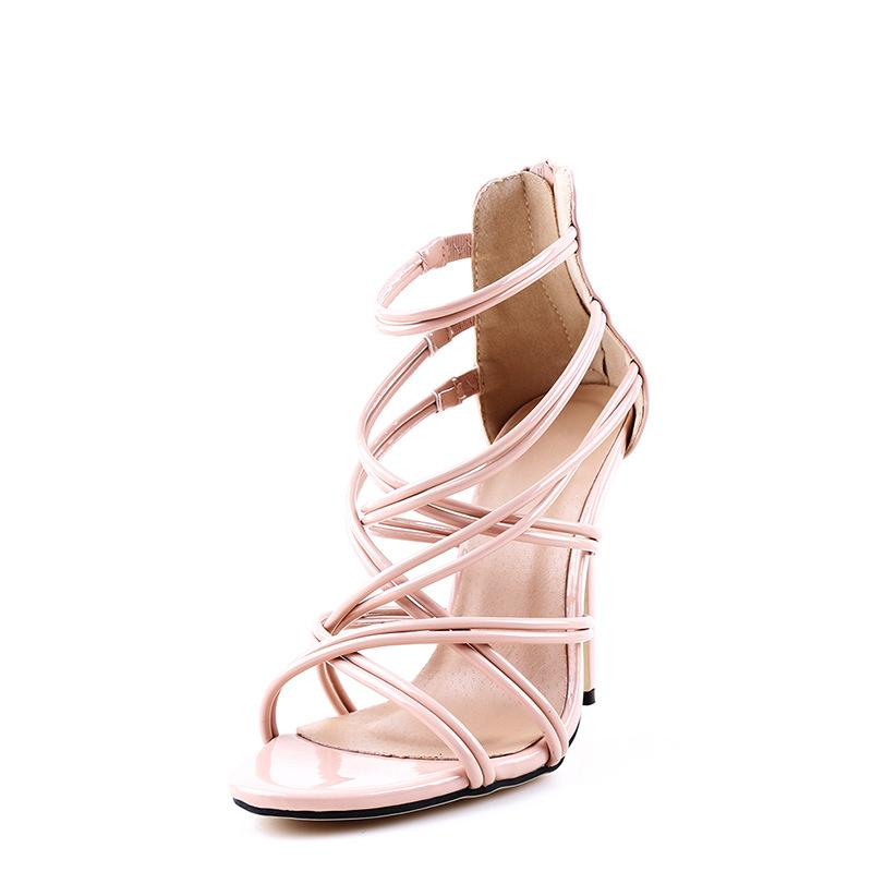 Straps Open Toe Back Zipper Stiletto High Heel Women Sandals