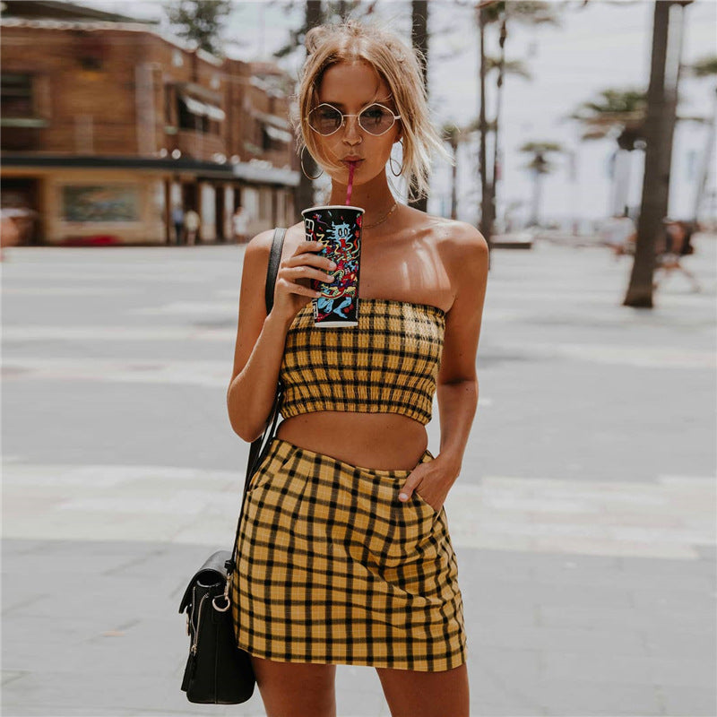 Plaid Strapless Crop Top with High Waist Bodycon Short Skirt Women Two Pieces Set