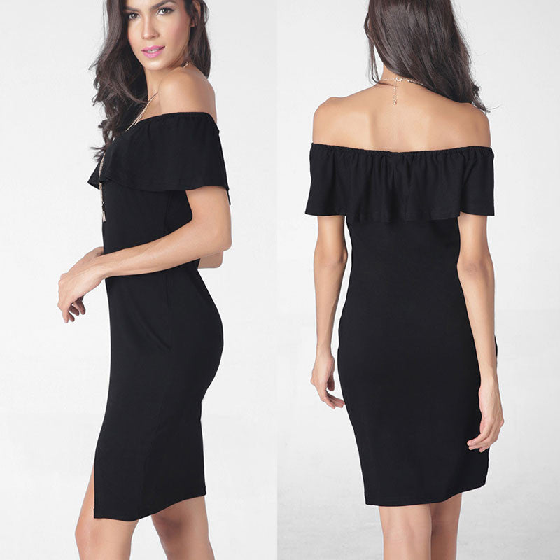 Fashion Sexy Off Shoulder Falbala Short Dress - Oh Yours Fashion - 1