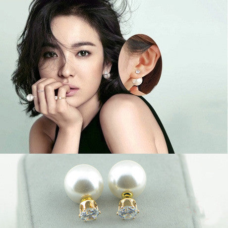 Fashion Crystal Zircon Double Pearl Earring - Oh Yours Fashion - 11