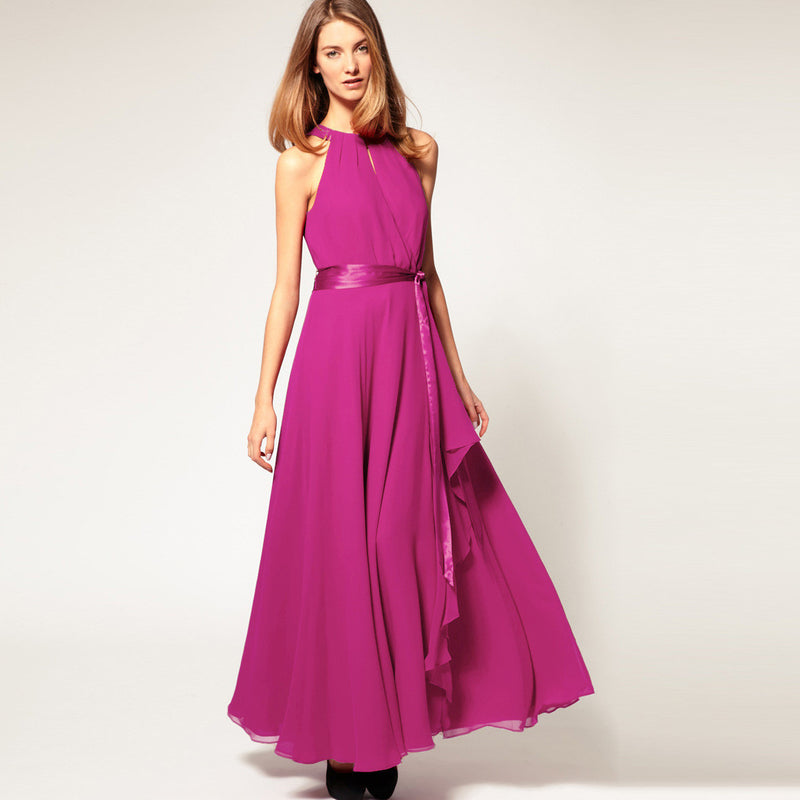 Chiffon Pure Color O-neck Irregular Sleeveless Long Dress - Oh Yours Fashion - 7
