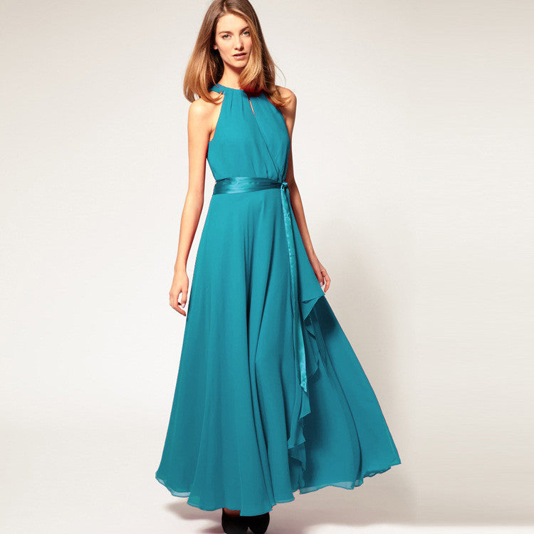 Chiffon Pure Color O-neck Irregular Sleeveless Long Dress - Oh Yours Fashion - 5