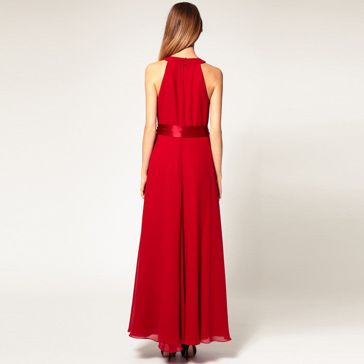 Chiffon Pure Color O-neck Irregular Sleeveless Long Dress - Oh Yours Fashion - 8