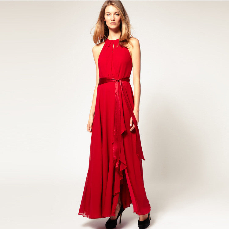 Chiffon Pure Color O-neck Irregular Sleeveless Long Dress - Oh Yours Fashion - 9