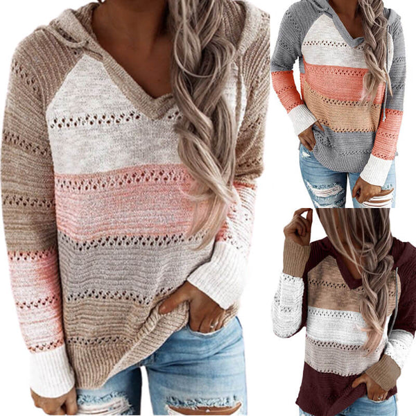 Colorblock V Neck Hooded Sweater
