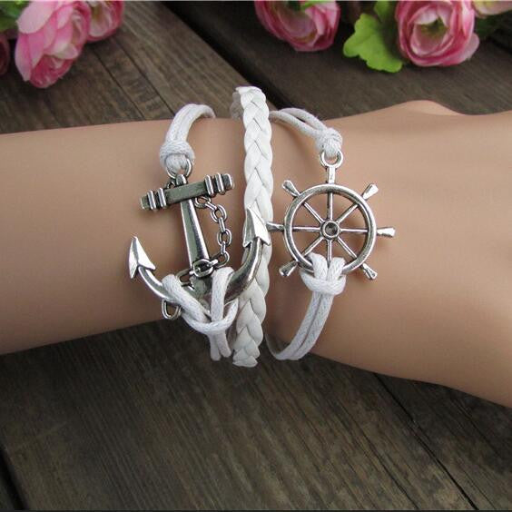Bright Anchor Hand-made Leather Bracelet - Oh Yours Fashion - 1