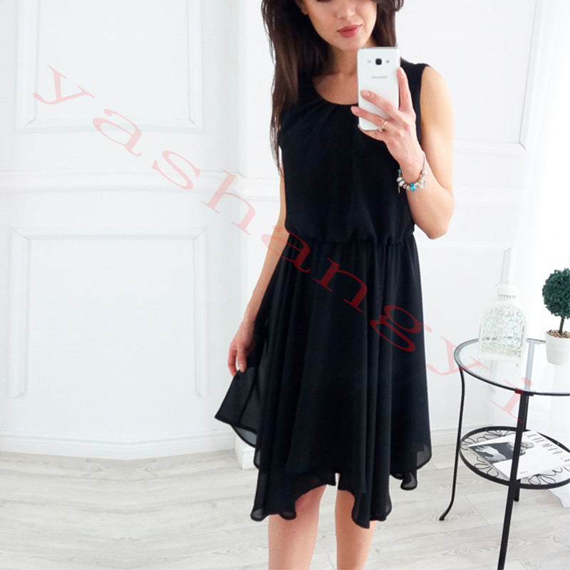 Candy Color Pleated Women Knee-length Bohemian Dress