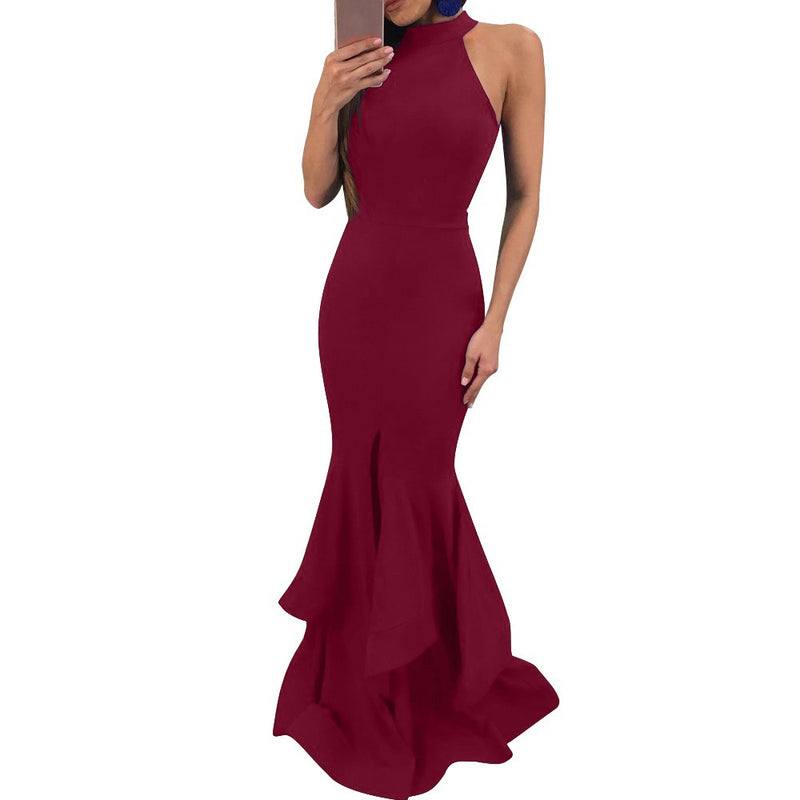Bare Shoulder Solid Color Split Women Long Mermaid Party Dress