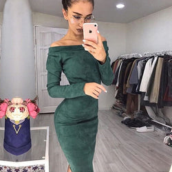 Off the Shoulder Solid Color Women Tee-length Dress