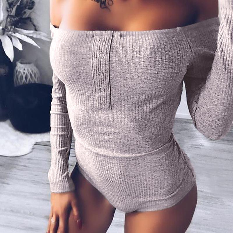 Slim Long Sleeves Off Shoulder Solid Color Elastic Short Jumpsuits