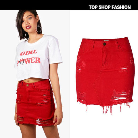 Denim Holes Ruffles High Waist Short Red Skirt