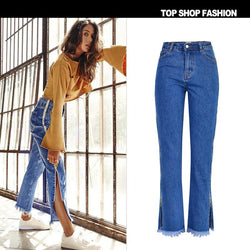 High Waist Loose Side Split Bell-bottomed Long Jeans Demin Pants