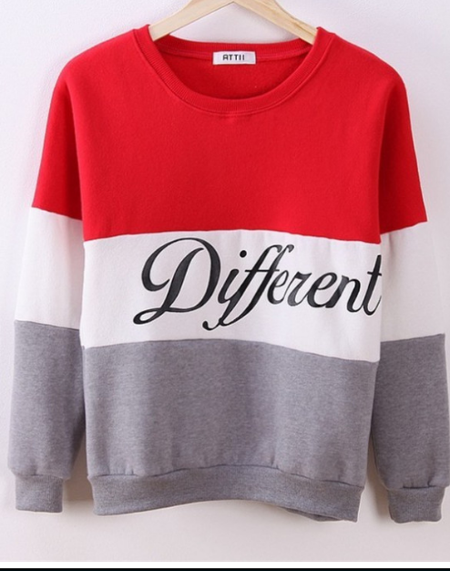 Contrast Color Letter Splicing Print Pullover Scoop Sweatshirt - Oh Yours Fashion - 1