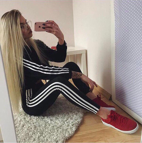 Stripe Sweatshirt with Long Skinny Pants Women Two Pieces Casual Set