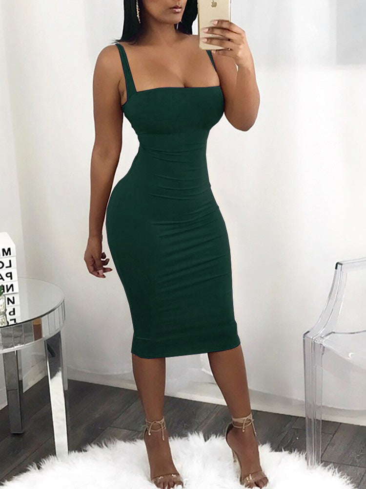 Solid Color Spaghetti Straps Bodycon Women Knee-length Dress