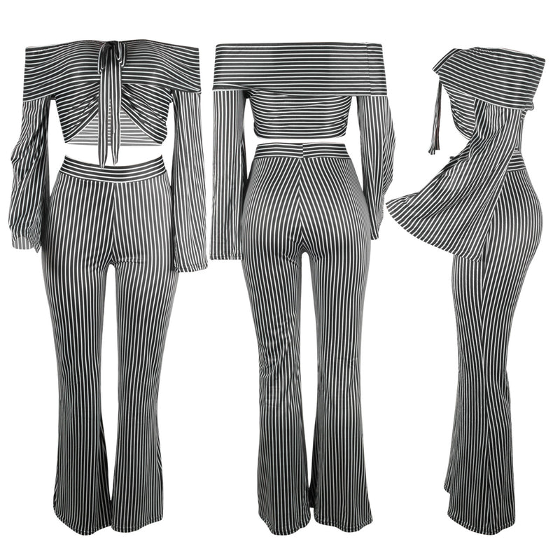 Off the Shoulder Stripes Crop Top with high Waist Long Wide-leg Pants Women Two Pieces Set