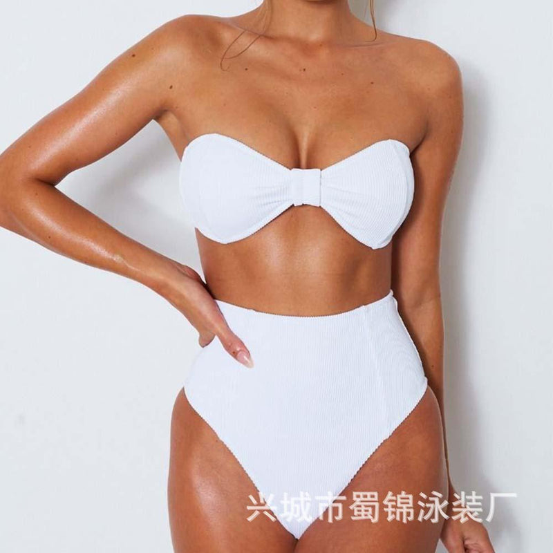 Candy Color Strapless High Waist Two Pieces Swimwear