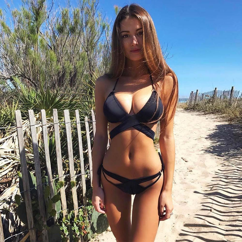 Halter Spaghetti Straps Lace Up Cross Low Waist Bikini Two Pieces Swimwear