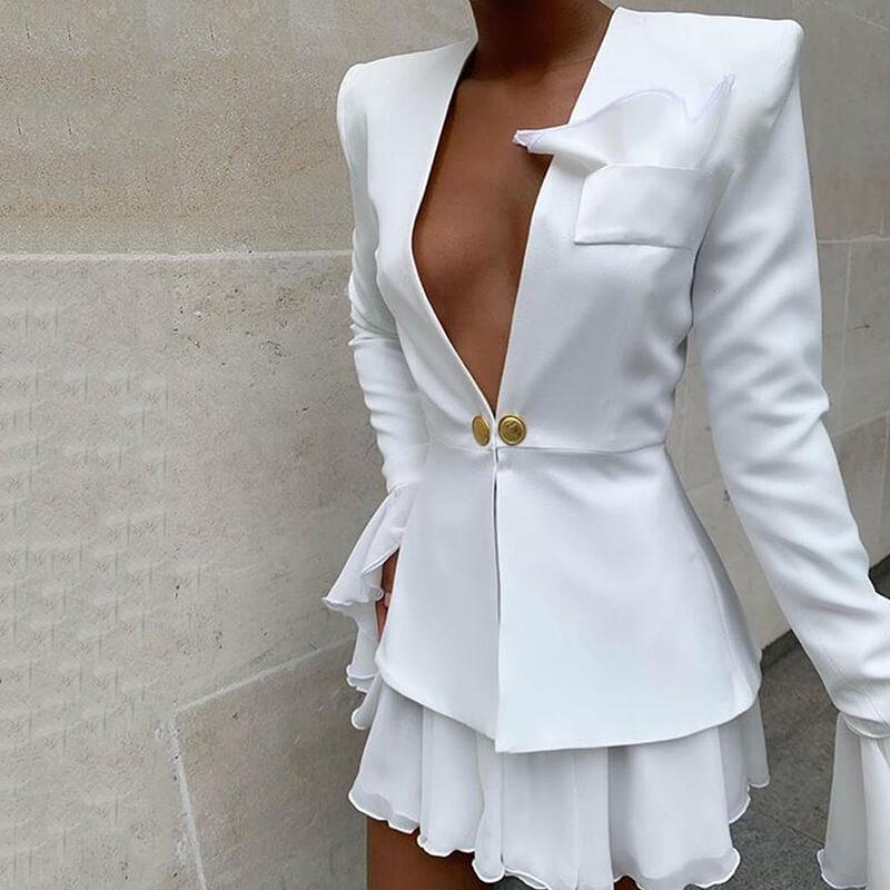Deep V-neck Crop Top Button Short Skirt Set