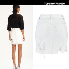 Tassels Bagger Style Holes High Waist White Denim Short Skirt