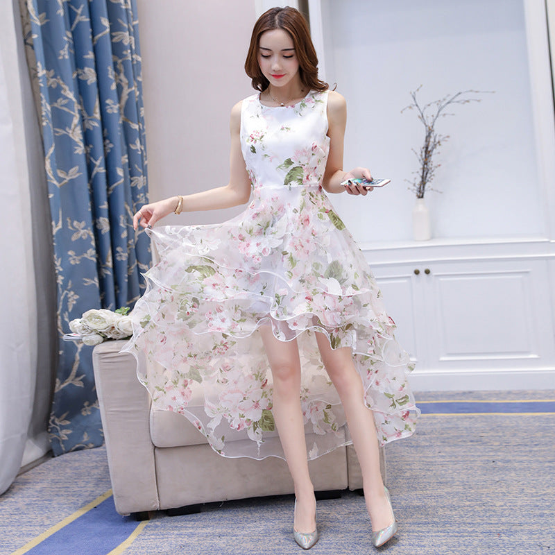 Organza Irregular White High Waist Swallow-Tailed Women Bridesmaid Party Dress